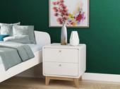 Nachtkommode CARMEN mit 2 Schubladen in weiß/weiß