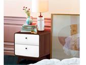 Nachtkommode CARMEN 2 Schubladen Spanplatte in weiß &walnuss