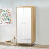 Kleiderschrank CARMEN aus Spanplatte foliert in weiß & Natur