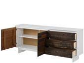 2-trg. Sideboard MILLA aus Kiefer in weiß/braun, 165 cm