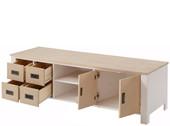 Lowboard INSEL Breite 150 cm aus Kiefer in weiß/hellbraun