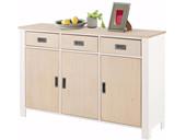 Sideboard INSEL mit 3 Holztüren in weiß/hellbraun