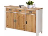 Sideboard INSEL mit 3 Holztüren in weiß/dunkelbraun
