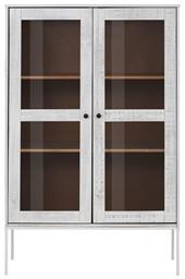 Kleine Vitrine FLORA 90x140 cm aus Massivholz, creme/weiß