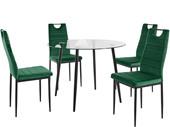 5-tlg. Essgruppe MATTES, 4 Stühle in grün, Tisch Ø100 cm