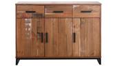 Sideboard SATURN 3 Türen Kiefer massiv in braun gewischt