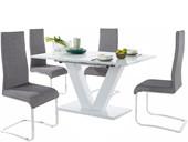 5-tlg. Essgruppe AMAL in weiß Hochglanz mit Stühlen in grau
