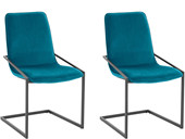 7-tlg. Essgruppe VIC, 6 Stühle in petrol, Tisch 200 cm