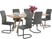 7-tlg. Essgruppe FRED im modernen Design, Tisch 200 cm breit
