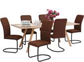7-tlg. Essgruppe FRED mit 6 Stühlen, 1 Esszimmertisch 200 cm