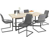5-tlg. Essgruppe VIC, 6 Stühle in grau, Esstisch 200 cm