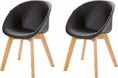 2er-Set Stühle BELLA mit Kunstlederbezug in schwarz
