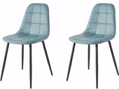 2er Set Stuhl LUCIA aus Kunstleder in blau