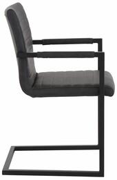 2er Set Stuhl SERENA mit Armlehne aus PU in grau