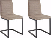 2er Freischwinger Stühle SERENA aus Stoff in cappuccino