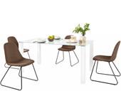 5-tlg. Essgruppe COCO 160 cm mit 4 Stühlen in cappuccino