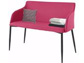 Sitzbank NONI 100 cm mit Kunstleder in pink, Beine schwarz