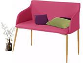 Bank NONI Breite 100 cm in pink Beine in eichenfarben