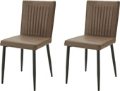 2er Set Stuhl FELICE aus PU in braun Metallbeine
