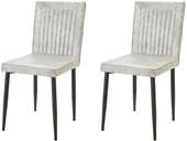 2er Set Stuhl FELICE aus PU in hellgrau Metallbeine