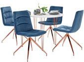 5-tlg. Essgruppe ZELDA 120 cm mit 4 Stühlen in dunkelblau