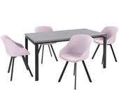 5-tlg. Essgruppe BETTY, 4 Stühle in rose, Tisch 160 cm breit