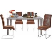 Essgruppe ALEX 160x90 cm mit Freischwinger Stühle in braun