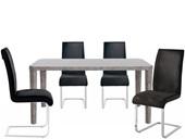 Essgruppe ALEX 160x90cm mit Stühle in anthrazit