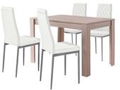Essgruppe LYON 120x80 cm mit Stühle aus Kunstleder in weiß