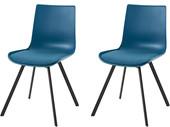 2er-Set Stühle LUCY in petrol, Metallgestell in schwarz