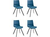5-tlg. Essgruppe LUCY, 4 Stühle in petrol, Tisch 140 cm