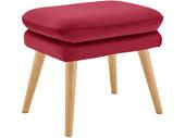 Sessel ZAVIA mit Hocker Samtstoff in rot, Sitzhöhe 49 cm