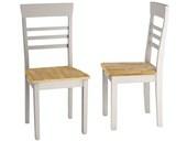 2er Set Stühle MADEIRA aus Massivholz, weiß und natur