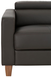 3-Sitzer Sofa LUCA PU in schwarz Ottoman rechts