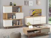 Wohnregal ANNE aus Spanplatte foliert in weiß/eiche