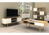 TV-Lowboard ANNE aus Spanplatte foliert in weiß und eiche
