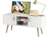 TV Lowboard PASCAL mit 2 Türen in weiß & natur