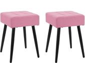 Quadratischer Hocker LALE Webstoff in rosa, Füße in schwarz