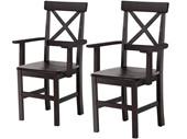 Stuhl NIKOLAI mit Armlehne im 2er Set havanna lackiert