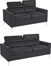 Sofa-Set JONI aus Leder in schwarz mit Metallbeinen