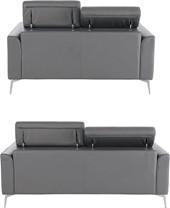 Sofa-Set JONI aus Leder in grau mit Metallbeinen