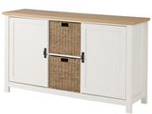 2-trg. Sideboard GABRIELLE mit Rattankörben in creme/weiß