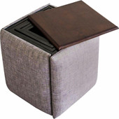 Hocker-Set MILANO aus Mangoholz/Metallgestell in grau-braun