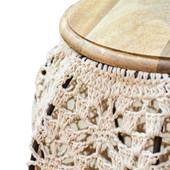 Runder Beistelltisch VINCY Mangoholz mit Metall und Wolle