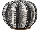 Dekorativer Pouf ZARIA Ø47 cm in schwarz/grau