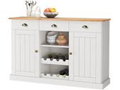 Sideboard FOREST Breite 125 cm Kiefer massiv in weiß & honig
