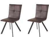 2er-Set Esszimmerstühle PETE in anthrazit mit Metallbeinen