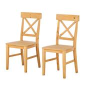 2er Set Stühle AGGIE aus Kiefer massiv in gebeizt geölt