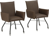 2er-Set Stühle JACOBO Kunstleder in anthrazit; auf Rollen