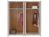 4-trg. Kleiderschrank MAISY aus Kiefer massiv in weiß
